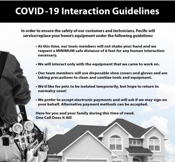 Pacific Heating and Air Covid-19 Policy